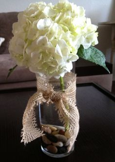 Simple wedding table flower arrangement Hydrangea
