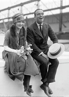 Honeymooning actors Douglas Fairbanks and Mary Pickford on board the SS Lapland in 1920.
