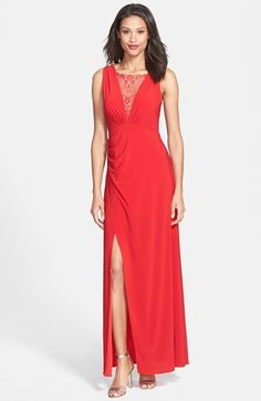 Hailey by Adrianna Papell Lace Inset Draped Jersey Gown available at #Nordstrom