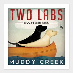 Made to Order -- TWO DOGS Labrador Canoe Company Graphic Art Giclee Print