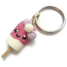 Polymer clay strawberry cream keychain