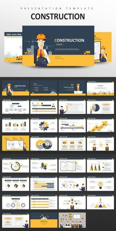 This 'Construction PPT Template' is a PowerPoint presentation template designed with illustration. If you are looking for a more friendly and soft images for Powerpoint Design Templates, Presentation Design Template, Ppt Design, Presentation Layout, Business Presentation, Layout Design, Booklet Design, Design Posters, Brochure Design