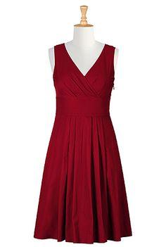 Trapunto trim cotton poplin dress