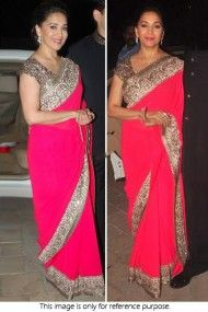 Bollywood Style Madhuri Dixit Georgette Saree In Pink Colour NC1359