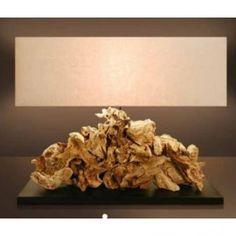 Επιτραπέζιο φωτιστικό CAMERUN από φυσικό ξύλο και ύφασμα