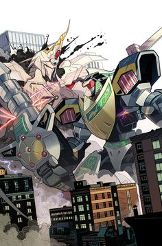 Mighty Morphin Power Rangers by Dan Mora Power Rangers Megazord, Power Rangers Comic, Power Rangers Series, Go Go Power Rangers, Japon Tokyo, Tokyo Ghoul, Green Ranger, Mecha Anime, Mighty Morphin Power Rangers