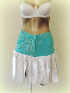 Boho skirt upcycled skirt, hippie skirt, boho clothes, lace satin cottage chic rag skirt, country rag skirt, satin and lace, Adult rag tutu