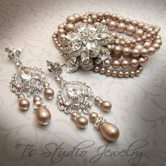 Multi Strand Pearl Bridal Cuff Bracelet with door TzStudioJewelry