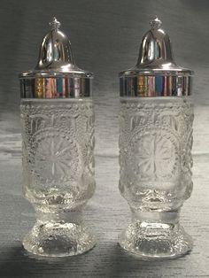 Vintage Pressed Glass Salt Pepper Shakers | eBay