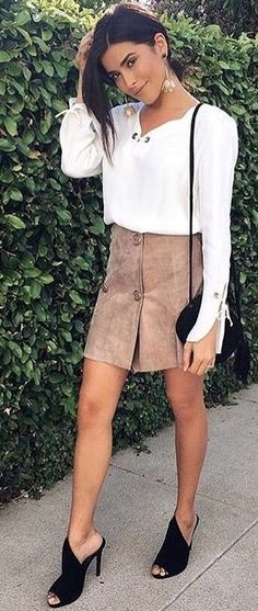 #summer #dashboutique #outfits | White Blouse + Tan Suede Skirt + Black Cute Mules