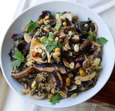 Spicy-Peanut Portobello Kale Rice Bowl: kale, red onion, peanuts, peanut butter, tahini, ginger, soy sauce, rice vinegar, mushrooms