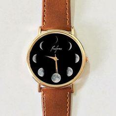 Moon Phases Watch, Women watches , Men's watch Vintage Style Leather Watch, Unisex Watch, Boyfriend Watch,