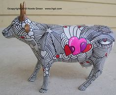 "Cow Parade custom figure ""Hearts & Lines"" Cow Creamer, Cow Parade, Greyhound Art, Cow Art, Plate Art, Ceramic Animals, Whimsical Art, Animal Paintings, Public Art"