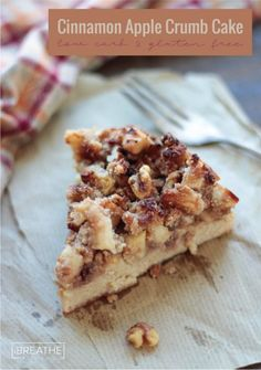 This low carb cinnamon apple crumb cake is tender and loaded with cinnamon, apples and walnut streusel! Gluten free and keto friendly!