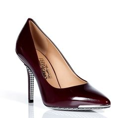 SALVATORE FERRAGAMO Oxblood Patent Leather Pumps