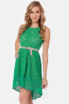 Lovely #Green High-Low Lace Dress $66.00 http://www.lulus.com/products/high-on-the-hilltop-green-lace-dress/77662.html