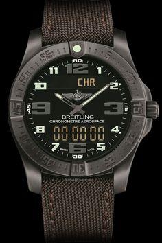 "Breitling – Aerospace Evo Night Mission ""30e anniversaire"" - Black dial. Non-glare stealth look in a new black satin-brushed titanium version."