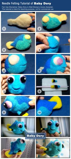 Needle Felting tutorial of Baby Dory - Christine Creative wool needle felting