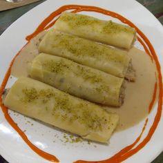 Canelón de boletus en el menú degustación del restaurante @PetitComite_Zaragoza (Hernando de Aragon 1)