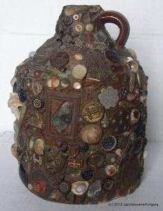 """Memory jugs are also called forget-me-not jug, memory vessel, mourning jug, spirit jar, ugly jug, whatnot jar, and whimsy jar"" Antique Folk Art Stoneware Mourning Memory Jug Minnesota Area 1900s | eBay"