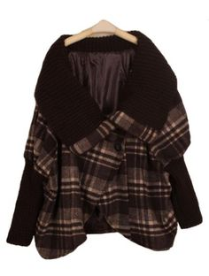 Coffee Batwing Long Sleeve Plaid Cape Coat pictures
