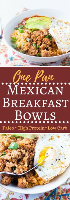 Paleo Mexican Breakfast Bowls are a high protein breakfast that is low carb and veggie packed, it's a healthy breakfast sure to please all Mexican food lovers! via @hungryhobby