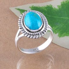 EXCLUSIVE 925 SOLID STERLING SILVER  TURQUOISE RING 5.11g DJR2438 S-7.5 #Handmade #Ring