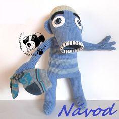 Hihlík Lichožrout - návod na háčkování Dinosaur Stuffed Animal, Crochet Hats, Toys, Animals, Stud Earrings, Knitting Hats, Animales, Animaux, Toy