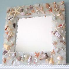 Beach Decor Sea Glass & Seashell Mirror - Nautical Shell Mirror w Beach Glass, Clear. $285.00, via Etsy.