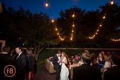 Dallas Wedding Ceremony and Reception at Arlington Hall at Lee Park. Lighting by BEYOND. uplighting, pinspots on floral for guest tables, stringer lights on Terrace, uplighting on columns on front porch, and twinkle lights hanging from the trees. Photos by f8.