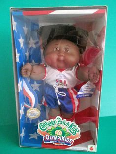 Mattel 1996 Cabbage Patch Boy Doll Olympics Soccer New in Box Dark Skin and Hair #DollswithClothingAccessories