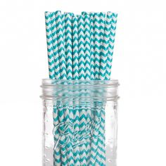 Diamond Blue Aqua Chevron Paper Straws