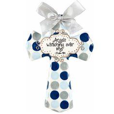 """""""Angels Watching Over Me"""" Medium Cross - Favorite cross for a little boy ever!  Best Baptism Gift! www.googoogaagaa.com"""