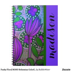 Funky Floral BOHO Bohemian Colorful Name Notebook  http://www.zazzle.com/funky_floral_boho_bohemian_colorful_name_notebook-130514014340159283?rf=238588924226571373