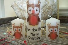 Rudolph the Owl Christmas Candle. Love anything owls.