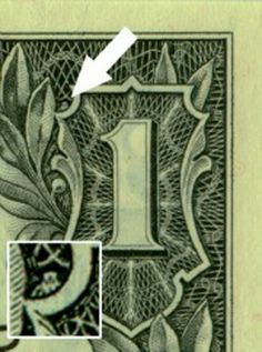 The American one-dollar bill contains several hidden images, including a spider in the upper right-hand corner