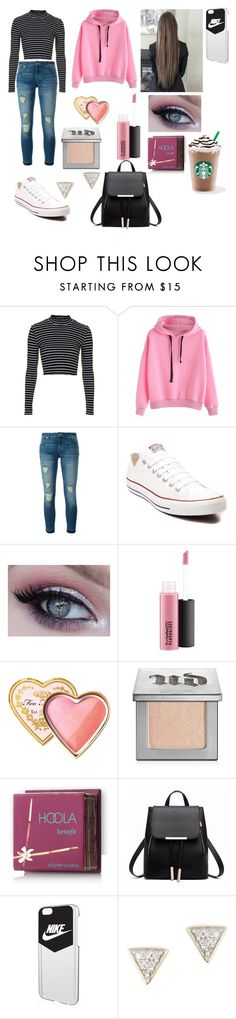 """""""#school day"""" by cutieforever10 ❤ liked on Polyvore featuring Topshop, MICHAEL Michael Kors, Converse, MAC Cosmetics, Too Faced Cosmetics, Urban Decay, Hoola, NIKE and Adina Reyter"""