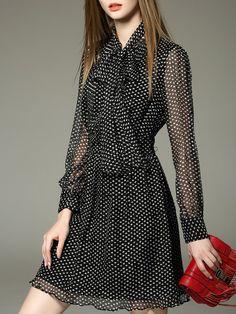 Shop Mini Dresses - Black Long Sleeve Polka Dots Mini Dress online. Discover unique designers fashion at StyleWe.com.