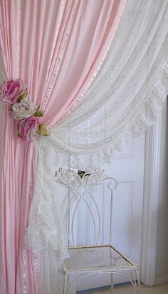 Delicate Pink Curtains  with rose tiebacks would be a dream come true!