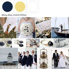nautical palette of navy blue, antique gold + white