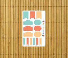 Teal, Gold, and Melon Banners for your planner. By MioCartaPesta