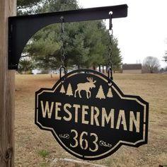 Personalized Hanging Address Sign - Street Name, Family Last Name, House Number, Hanging Bracket Cabin Signs, Farm Signs, Home Signs, House Name Signs, House Number Plaque, House Numbers, Plasma Table, Cnc Plasma, Plasma Torch