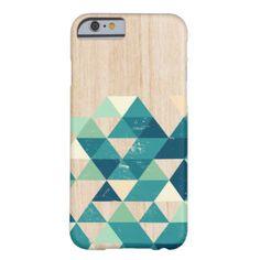 Wooden case whit blue triangels