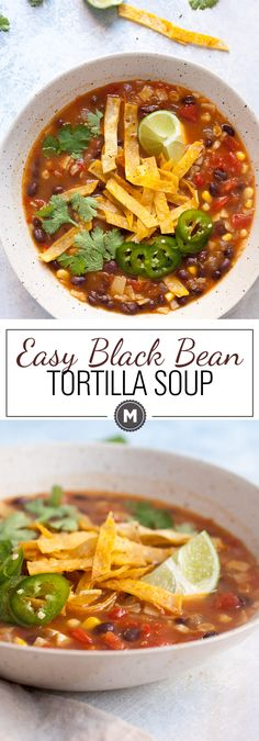 Easy Black Bean Tortilla Soup: When you have no time but want a really delicious and warming bowl of soup this is the recipe for you! It's embarrassingly simple to make but has great flavors. Take the time to make the crispy tortilla strips. Vegetarian Recipes Videos, Vegetarian Meals For Kids, Vegetarian Breakfast Recipes, Healthy Diet Recipes, Cooking Recipes, Vegan Breakfast, Healthy Fats, Cooking Tips, Easy Recipes