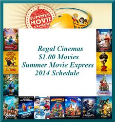 Family Fun Activities - Regal Cinemas 2014 Summer Movie Express Schedule – $1 Admission