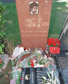 Bruce Lee 1940-1973.  His grave is in Seattle's Lakeview Cemetery