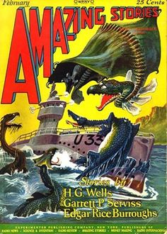 Edgar Rice Burroughs' serial was first published in Blue Book Magazine in 1918 (picture of cover). Sci Fi Short Stories, Science Fiction Short Stories, Science Fiction Books, Horror Books, Horror Movies, Pulp Magazine, Magazine Covers, Pulp Fiction Art, Blue Books