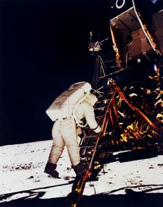 Buzz Aldrin about to take his first steps on the moon. July 20th, 1969