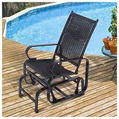 Rattan Rocking Chair Glider Seat Garden Patio Furniture Aluminum Frame Gliding  #RattanRockingChair