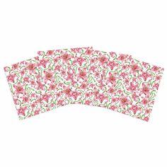 """Alisa Drukman """"Lily Flowers"""" Pink Nature Indoor/Outdoor Place Mat (Set of 4)"""